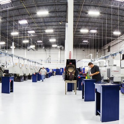 A panorama view of the Precision Products floor, snapped by Barney Taxel.